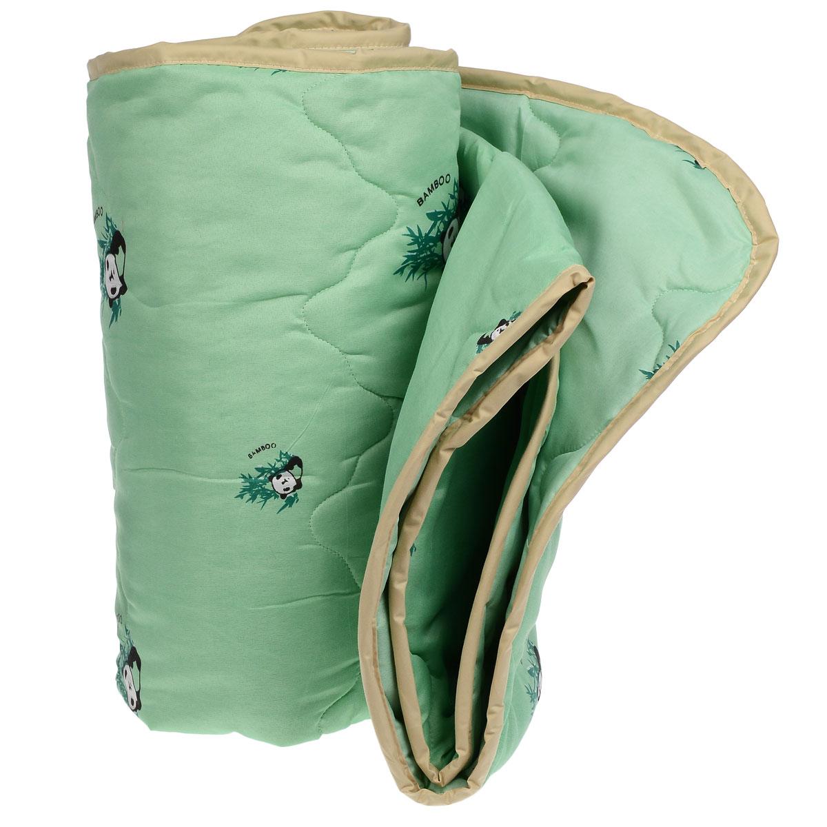 Одеяло всесезонное OL-Tex Бамбук, наполнитель: волокно бамбука, цвет: зеленый, 172 х 205 смМБПЭ-18-3 зеленый, бамбукВеликолепное всесезонное одеяло OL-Tex Бамбук подарит вам ни с чем несравнимую мягкость и согреет в холодное время года. При этом одеяло невероятно легкое: под ним также не будет жарко летом. Одеяло из коллекции Бамбук создано с использованием натурального и экологически чистого бамбукового волокна. Чехол одеяла зеленого цвета выполнен из 100% полиэстера и оформлен принтом с изображением бамбука и панды. Эксклюзивная стежка и атласный кант по краю придают изделию красивый внешний вид. Натуральная, экологически чистая основа бамбукового волокна обладает природными антибактериальными и дезодорирующими свойствами, останавливает рост и развитие бактерий, препятствует появлению неприятных запахов. Эти качества сохраняются даже после многократных стирок. Идеально подходит людям, страдающим аллергией и астмой. Основные свойства бамбукового наполнителя: - отличная воздухопроницаемость и впитывающие свойства, - дезодорирующие и бактерицидные свойства, - гигиеничность и гипоаллергенность. Подарите себе здоровый сон с бамбуковым одеялом! Рекомендации по уходу:- Ручная и машинная стирка при температуре 30°С.- Не гладить.- Не отбеливать. - Нельзя отжимать и сушить в стиральной машине. - Вертикальная сушка. Материал чехла: 100: полиэстер. Наполнитель: волокно бамбука. Размер: 172 см х 205 см.