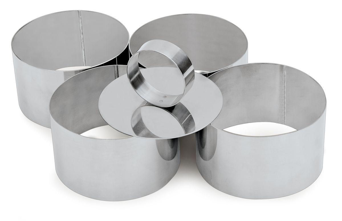 Набор форм для вырезания печенья Iris Cuinox, с выталкивателем, 4 шт3104-4IНабор Iris Cuinox состоит из 4 круглых форм для вырезания печенья, выполненных из высококачественной нержавеющей стали. С такими формами-резаком можно сделать множество круглых кондитерских изделий. И кушать это будет так весело! Можно использовать для создания печенья, сладких украшений, бутербродов, как трафарет для украшений из бумаги и других материалов. В комплекте - металлический выталкиватель для удобного извлечения содержимого из форм.Диаметр форм: 7,4 см.Высота форм: 5 см.Размер выталкивателя: 7,3 х 7,3 х 3,7 см.