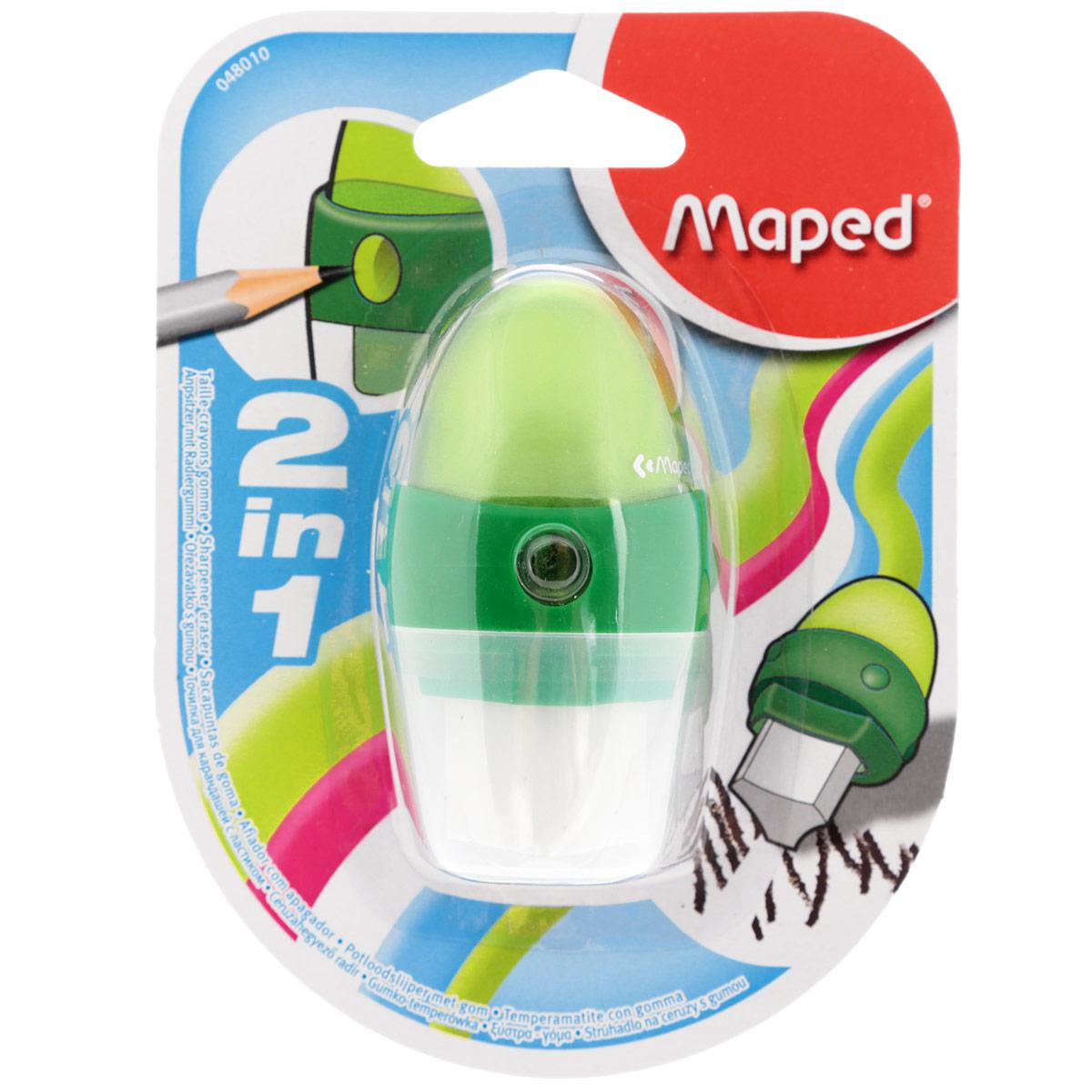 Точилка Maped Astro, с ластиком, цвет: зеленый48010_зеленыйУдобная точилка в пластиковом корпусе с крышкой Maped предназначена для затачивания карандашей. Острое стальное лезвие обеспечивает высококачественную и точную заточку. Карандаш затачивается легко и аккуратно, а опилки после заточки остаются в специальном контейнере. Точилка снабжена ластиком, закрывающимся колпачком.