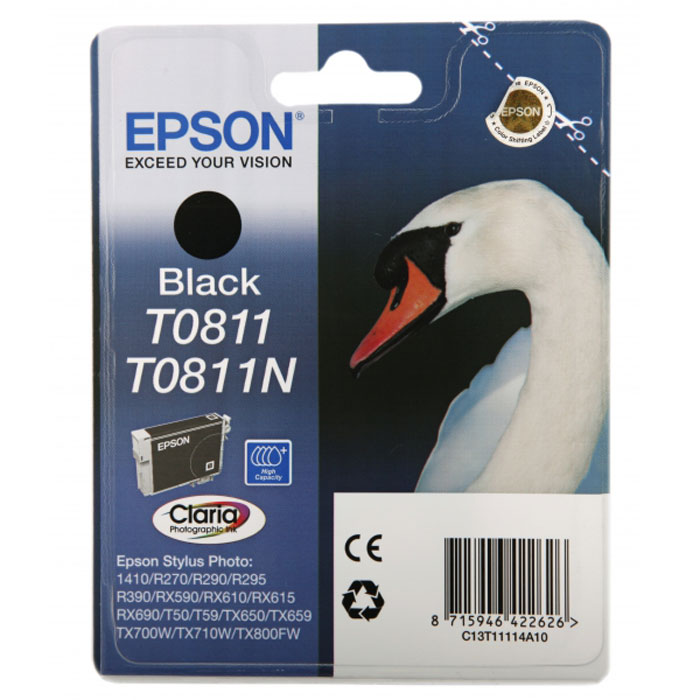 Epson T0811 (C13T11114A10), Black картридж для Stylus Photo R270/R290/RX590 картридж epson t009402 для epson st photo 900 1270 1290 color 2 pack