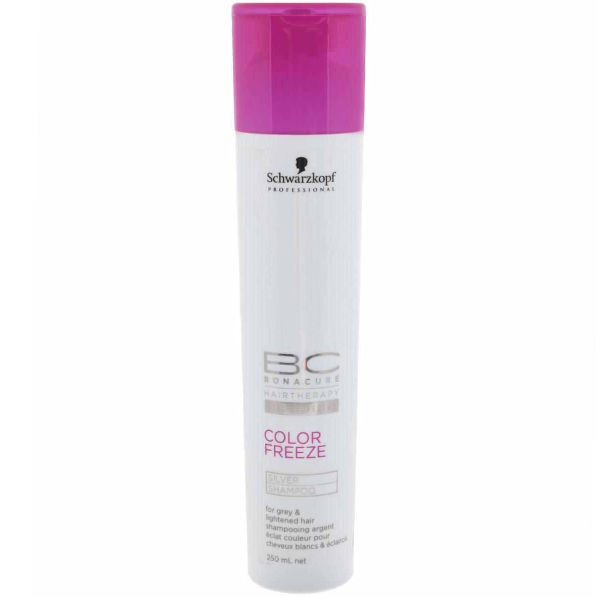 Bonacure Шампунь для волос придающий серебряный оттенок волосам Color Freeze Silver Shampoo 250 мл2066397Шампунь Bonacure Color Freeze, придающий серебристый оттенок волосам, деликатно и эффективно очищает окрашенные волосы и кожу головы. Укрепляет структуру волос и удерживает оптимальный уровень pH 4.5, сводит потерю цвета к 0. Нейтрализует теплые оттенки и придает холодный оттенок волосам. Для окрашенных волос. Рекомендуется использовать в комплексе с продуктами ухода линейки BC Color Freeze.