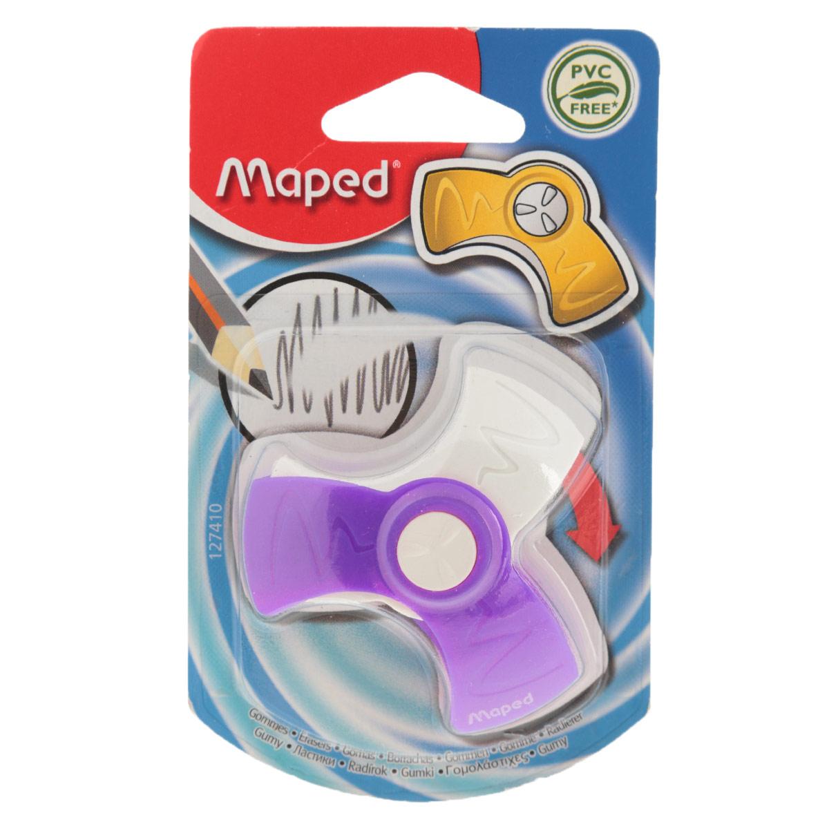 Ластик Maped Spin, цвет: сиреневый, белый127410_сиреневыйОригинальный ластик Spin в поворотном защитном футляре из пластика. Легко удаляет следы чернографитных карандашей, а футляр защищает ластик от загрязнений и увеличивает его срок службы. Обеспечивает высокое качество коррекции, не повреждая поверхность бумаги, не оставляя следов. Не содержит ПВХ.