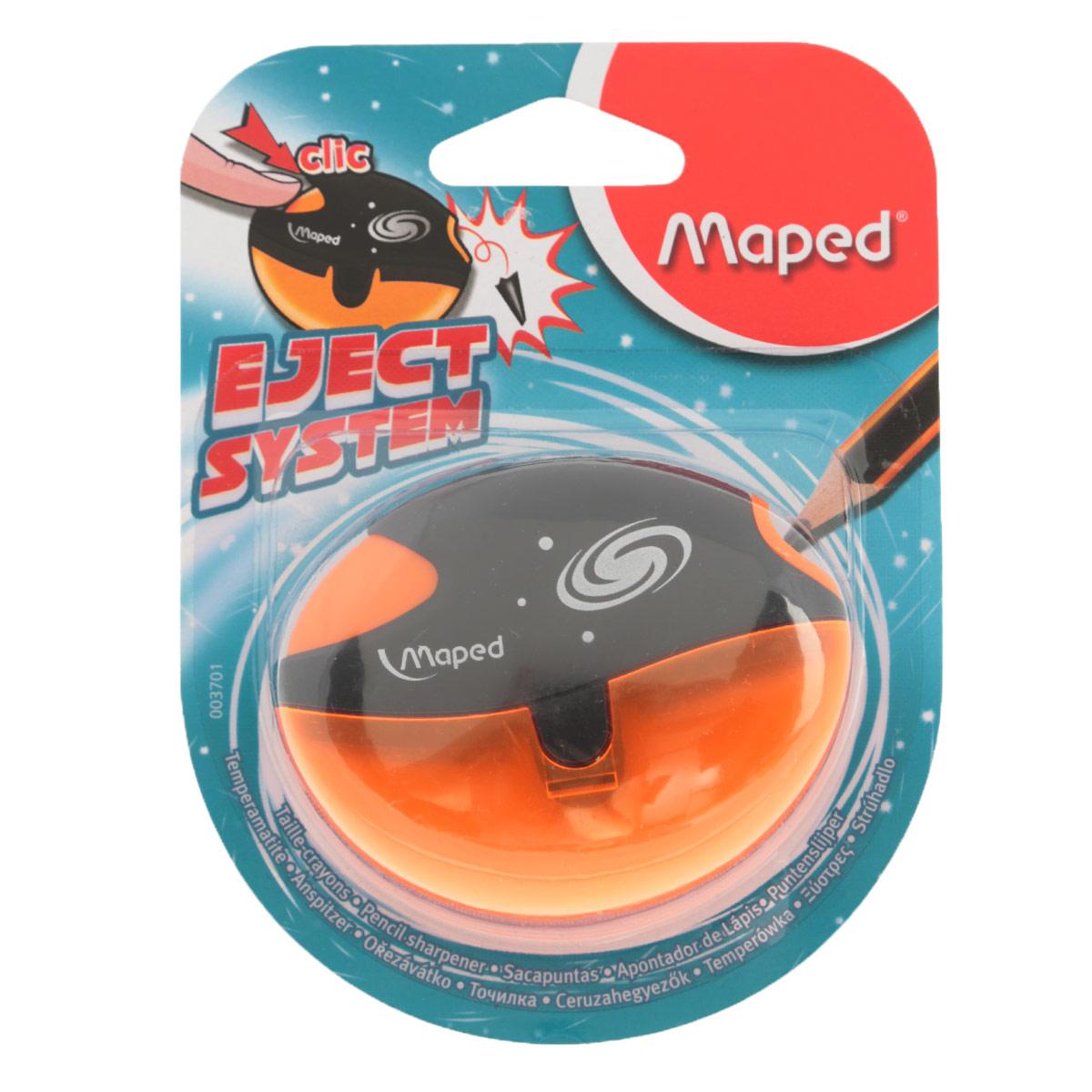 Точилка Maped Galactic, с контейнером, цвет: оранжевый3701_оранжевыйТочилка пластиковая Maped Galactic - это точилка изготовленная из пластика, с одним отверстием, контейнером и специальной защитой от сломанного грифеля. Полупрозрачный контейнер для сбора стружки повышенной вместимости позволяет визуально контролировать уровень заполнения и вовремя производить очистку. Это точилка, в которой не застревает грифель. Одно нажатие на кнопку освобождает точилку от сломанного грифеля. Предназначена для использования как в школе, так и в офисе.Рекомендовано детям старше трех лет.