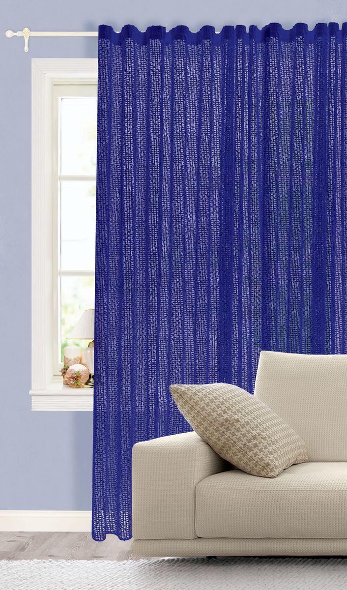 Штора готовая для гостиной Garden, на ленте, цвет: синий, размер 150*260 см. С 537235 v2