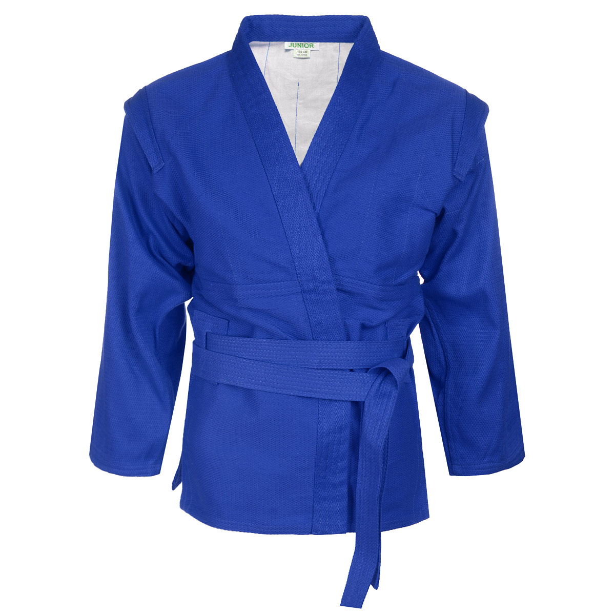 Кимоно детское для самбо Green Hill Junior, цвет: синий. SСJ-2201. Размер 150SСJ-2201Детское кимоно для самбо Green Hill Junior с глубоким запахом, боковыми разрезами и длинным рукавом изготовлено из плотного хлопка (плотность 300 г/м2) с плетением елочка.На изнаночной стороне для максимального комфорта до линии талии предусмотрена хлопковая подкладка. Боковые швы, края рукавов и полочек, низ изделия укреплены дополнительными строчками. Модель укреплена в подмышечной области. В области верхней части спины имеет особые прорези, в которые вставляется пояс, на плечах добавлены выступающие крылышки, предназначенные для выполнения захватов. Длинный плотный пояс укреплен многорядной прострочкой.