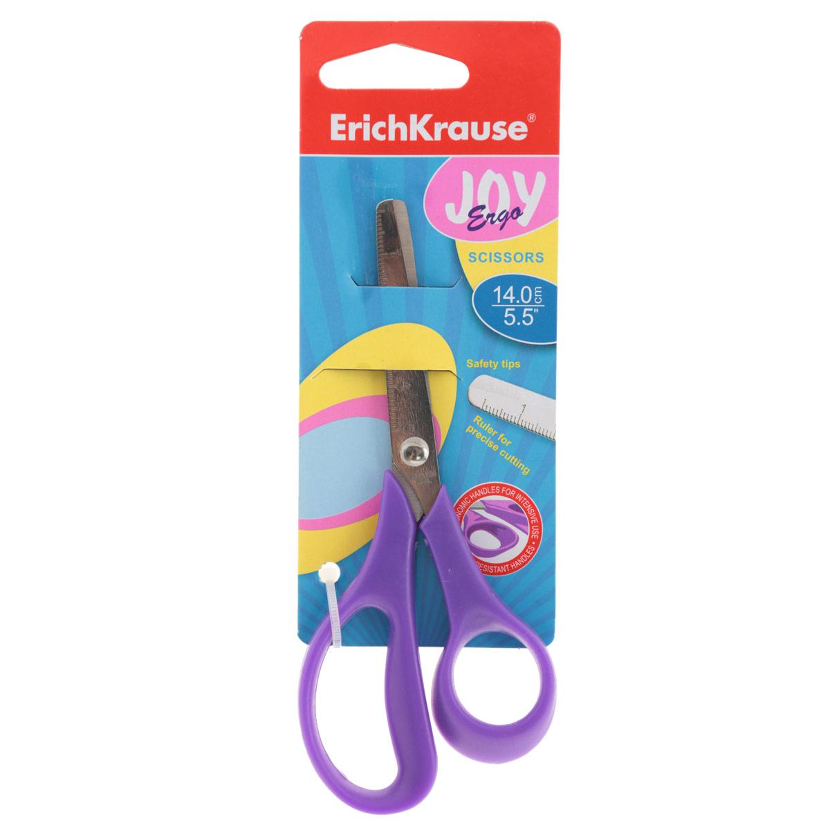 Ножницы канцелярские Erich Krause Joy Ergo, 14 см, цвет: фиолетовый ножницы erich krause ferro 15 см