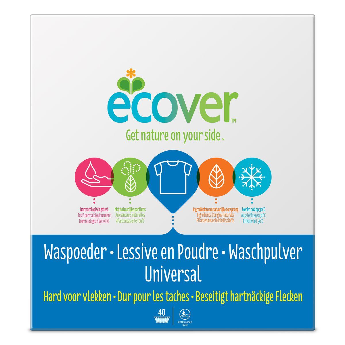 Экологический стиральный порошок Ecover, концентрат, универсальный, 3 кг бытовая химия xaax порошок концентрат для стирки универсальный бесфосфатный 1 5 кг