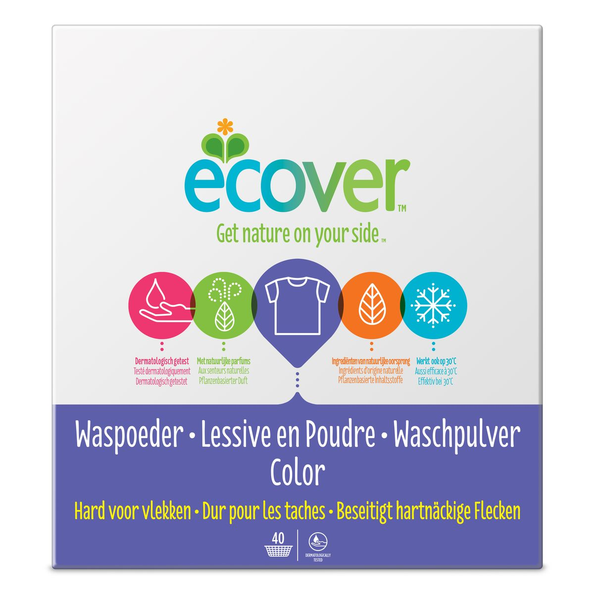 Экологический стиральный порошок Ecover, концентрат, для цветного белья, 3 кг40023Очень эффективный стиральный порошок-концентрат Ecover предназначен для стирки цветного белья. Подходит к использованию для детей от 2-х лет и взрослых. Порошок создан на основе растительных ПАВ. Улучшенная формула содержит небольшое количество бережного кислородного отбеливателя для удаления таких загрязнений как пятна от вина, фруктов, травы и т.д. Прекрасно выполаскивается. Новая формула средства позволяет использовать меньше порошка и обеспечивает на 25% больше стирок! При машинной стирке не требуется добавление средств для смягчения воды и предотвращения образования накипи (типа Calgon). Обладает легким натуральным ароматом. Не содержит фосфатов и синтетических ароматизаторов. Содержит энзимы (не ГМО) и натуральный кислородный отбеливатель. Подходит для использования в домах с автономной канализацией. Не наносит вреда любым видам септиков! Характеристики:Состав: 15-30% анионные био-ПАВ цеолиты, 5-15% неионные ПАВ, силикат натрия, карбонат натрия, бикарбонат натрия, полипептидное мыло, карбоксиметил целлюлозы, отдушка, сульфат натрия, цитрат натрия, энзимы, этилендиамин диссуцинат. Объем: 3 кг. Товар сертифицирован.