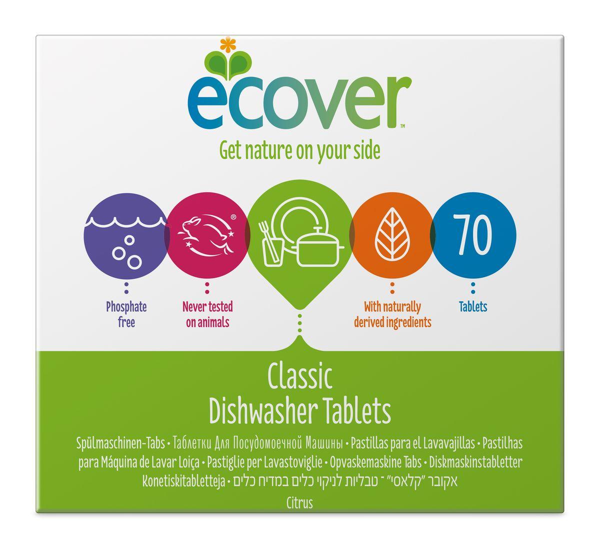 Экологические таблетки для посудомоечной машины Ecover, 70 шт00593Эффективное и экологически чистое средство Ecover для автоматического мытья посуды. Прекрасно удаляет загрязнения и жиры, оставляя посуду чистой и придавая ей блеск, не оставляя после себя никаких следов. Предотвращает образование известковых отложений на посуде и нагревательных элементах посудомоечной машины за счет использования быстроразлагаемых полипептидов. Каждая таблетка имеет индивидуальную упаковку. Не содержит синтетических ароматизаторов и хлора! Содержит энзимы (не ГМО). Обладает легким натуральным ароматом лимона. Подходит для использования в домах с автономной канализацией. Не наносит вреда любым видам септиков! Характеристики:Состав: 15-30% кислородный отбеливатель, цеолиты; Количество таблеток в упаковке: 70 шт. Вес: 1,4 кг. Товар сертифицирован.