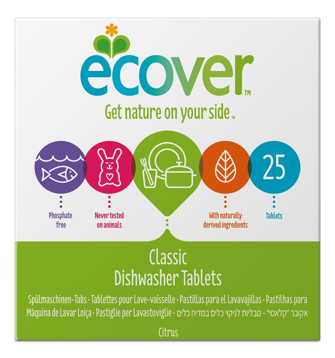 Экологические таблетки для посудомоечной машины Ecover, 25 шт00259Эффективное и экологически чистое средство Ecover для автоматического мытья посуды. Прекрасно удаляет загрязнения и жиры, оставляя посуду чистой и придавая ей блеск, не оставляя после себя никаких следов. Предотвращает образование известковых отложений на посуде и нагревательных элементах посудомоечной машины за счет использования быстроразлагаемых полипептидов. Каждая таблетка имеет индивидуальную упаковку. Не содержит синтетических ароматизаторов и хлора! Содержит энзимы (не ГМО). Обладает легким натуральным ароматом лимона. Подходит для использования в домах с автономной канализацией. Не наносит вреда любым видам септиков! Характеристики:Состав: 15-30% кислородный отбеливатель, цеолиты; Количество таблеток в упаковке: 25 шт. Вес: 500 г. Товар сертифицирован. Уважаемые клиенты!Обращаем ваше внимание на измененный дизайн упаковки. Комплектация осталась безизменений.