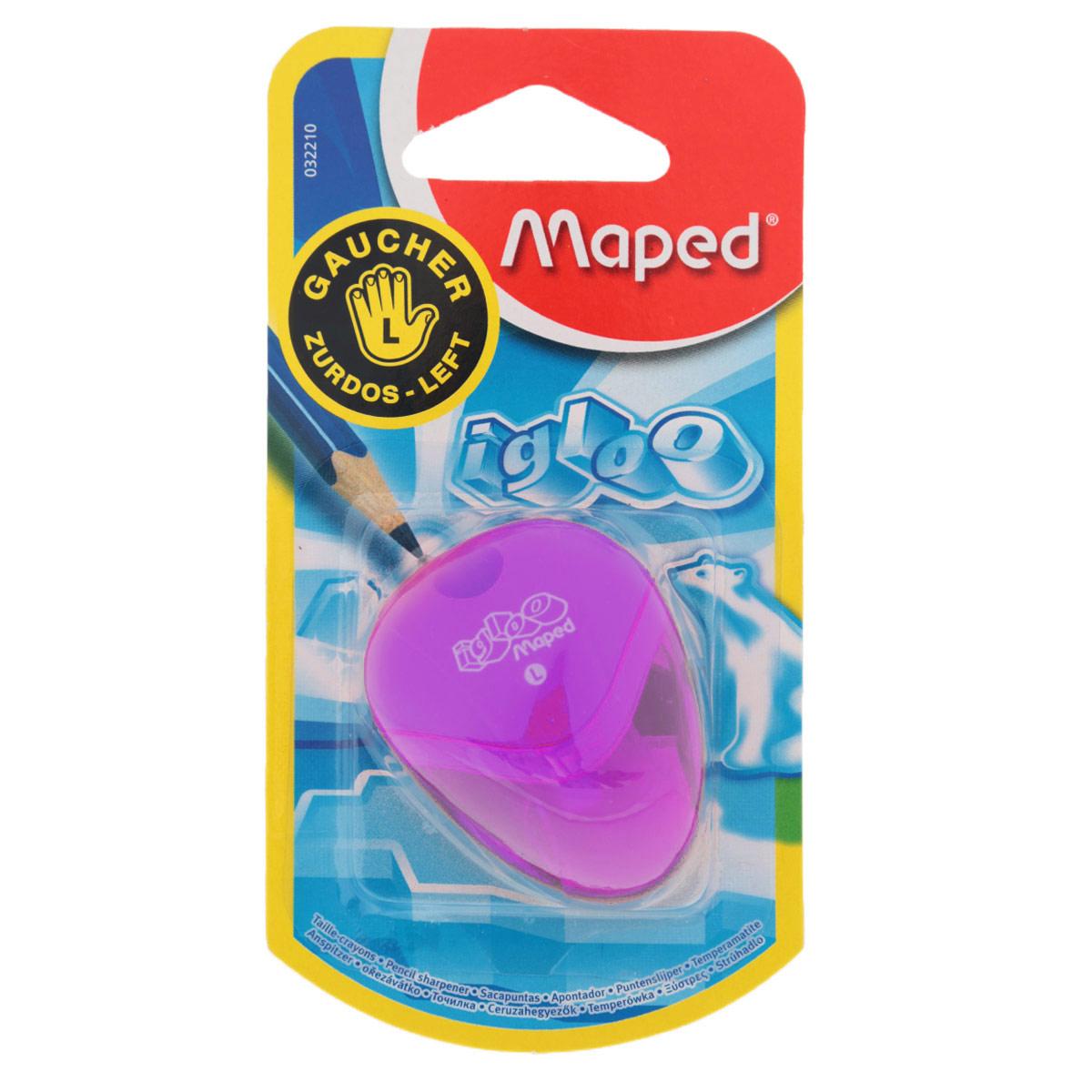 Точилка Maped Igloo, для левшей, цвет: фиолетовый32210_фиолетовыйТочилка Igloo для левшей с одним отверстием выполнена из ударопрочного пластика. Полупрозрачный контейнер для сбора стружки позволяет визуально контролировать уровень заполнения и вовремя производить очистку. Подходит как для школы, так и для офиса.Рекомендовано детям старше трех лет.