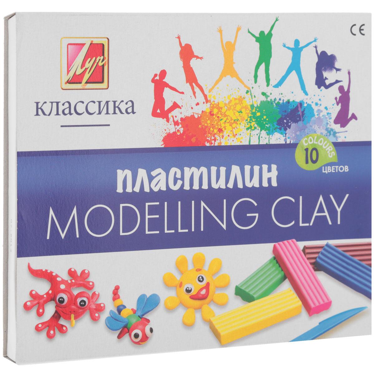Пластилин Луч Классика, со стеком, 10 цветов пластилин детский классика 16 цветов 20с 1329 08
