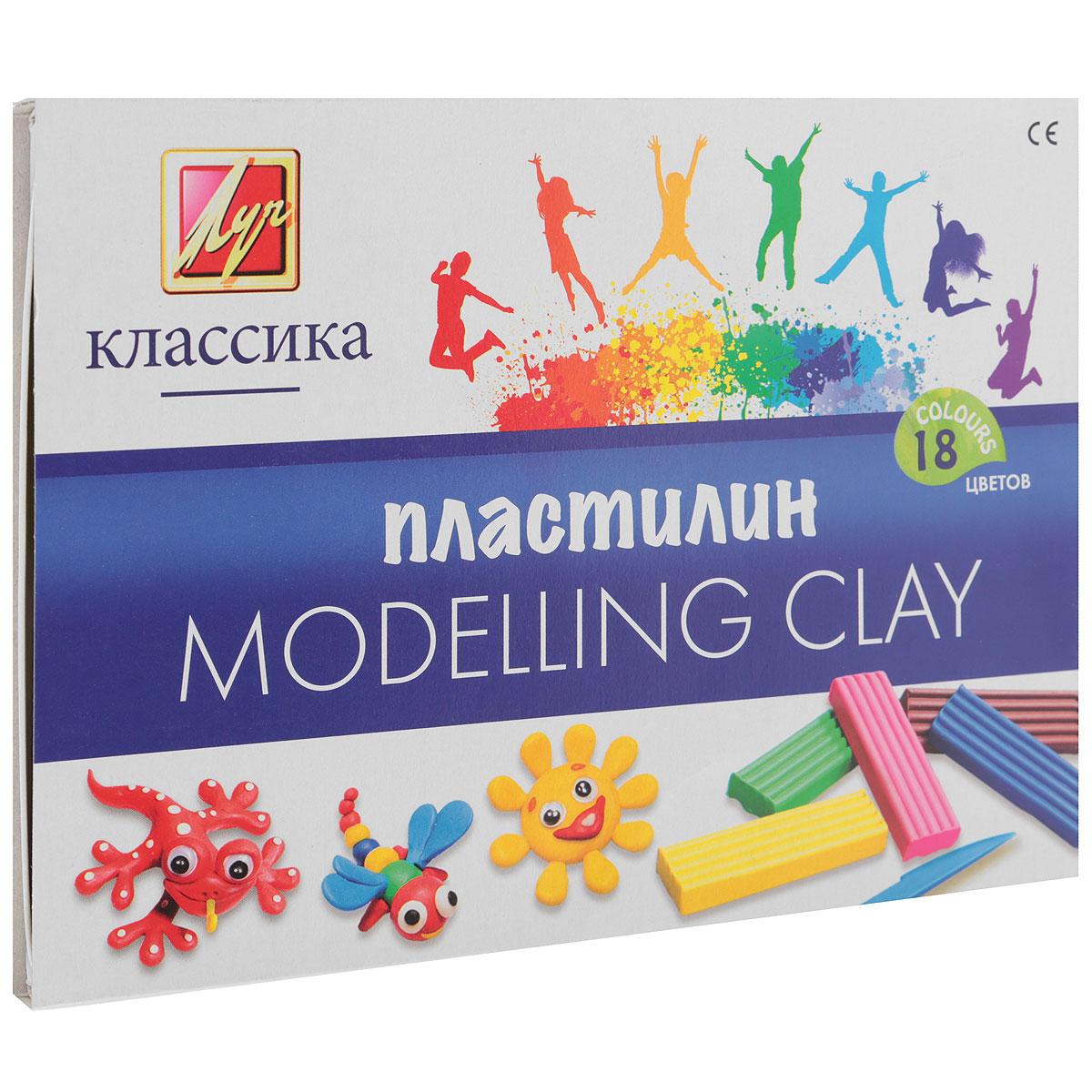 Пластилин Луч Классика, со стеком, 18 цветов пластилин детский классика 16 цветов 20с 1329 08