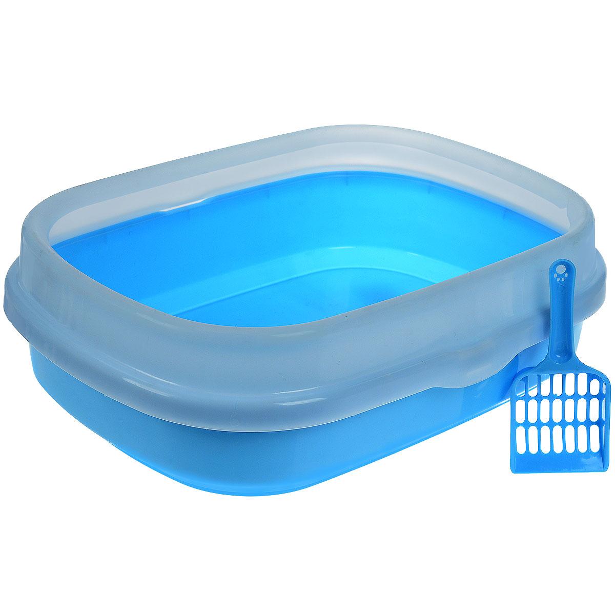 Туалет для кошек Галакси, с бортом, с совком, цвет: голубой, белый, 54 см х 42 см х 17 смP192_голубойТуалет для кошек Галакси изготовлен из качественного прочного пластика. Высокий борт, прикрепленный по периметру лотка, удобно защелкивается и предотвращает разбрасывание наполнителя. Это самый простой в употреблении предмет обихода для кошек и котов. К лотку прилагается совок для уборки кошачьего туалета, изготовленный из качественного пластика. Совок с крупной сеткой позволит освободить туалет от образовавшихся комков и просеять наполнитель. На ручке совка есть отверстие для подвешивания на стену. С помощью этого совка вы сможете быстро и качественно убрать туалет кошки. Размер лотка: 54 см х 42 см х 17 см. Длина совка: 20 см. Рабочая поверхность совка: 8 см х 9 см х 2 см.