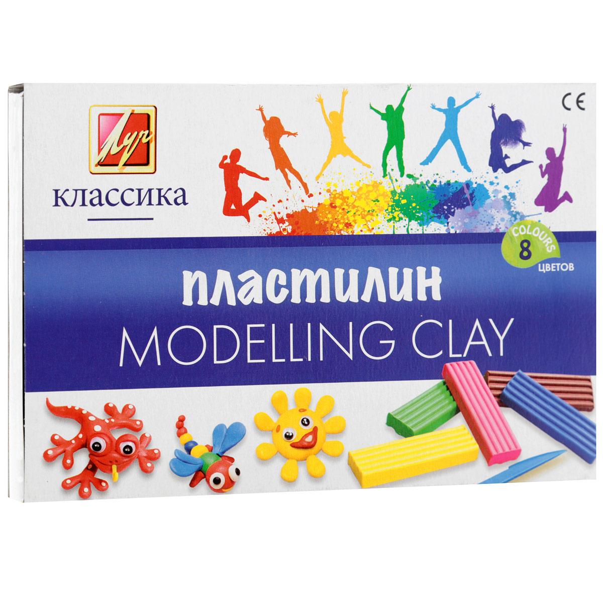 Пластилин Луч Классика, со стеком, 8 цветов пластилин детский классика 16 цветов 20с 1329 08