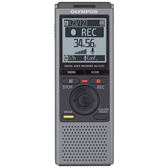 Olympus VN-731PC, Grey диктофон0274525Диктофон Olympus VN-731PC создан для начинающих пользователей, но подходит и для профессионалов. Даже начинающие пользователи смогут легко пользоваться этим диктофоном благодаря двум режимам отображения данных на дисплее. В простом режиме на дисплей крупным шрифтом выводится только необходимая информация, а пункты меню ограниченны наиболее часто используемыми функциями. Для профессионалов предлагается полный набор функций меню в стандартном режиме.Крупный, всенаправленный, малошумный микрофон улавливает каждую деталь записи. Великолепен для записи диктовок благодаря понижению шума и снижению звуков дыхания. Встроенная подставка на задней панели диктофона облегчает настольную запись, снижает шум трения и дарит невероятную чистоту звука.Обеспечьте достойное качество записи, правильно выбрав сцену записи. Ваш диктофон мгновенно выставит оптимальные параметры записи. Режимы Запись телефонных переговоров и Копирование могут быть использованы с удобными аксессуарами для достижения высокого качества записи или для конвертирования записей с пленочных кассет в цифровой формат.Звук: моноМаксимальное время записи: 790 часовМатериал: пластик