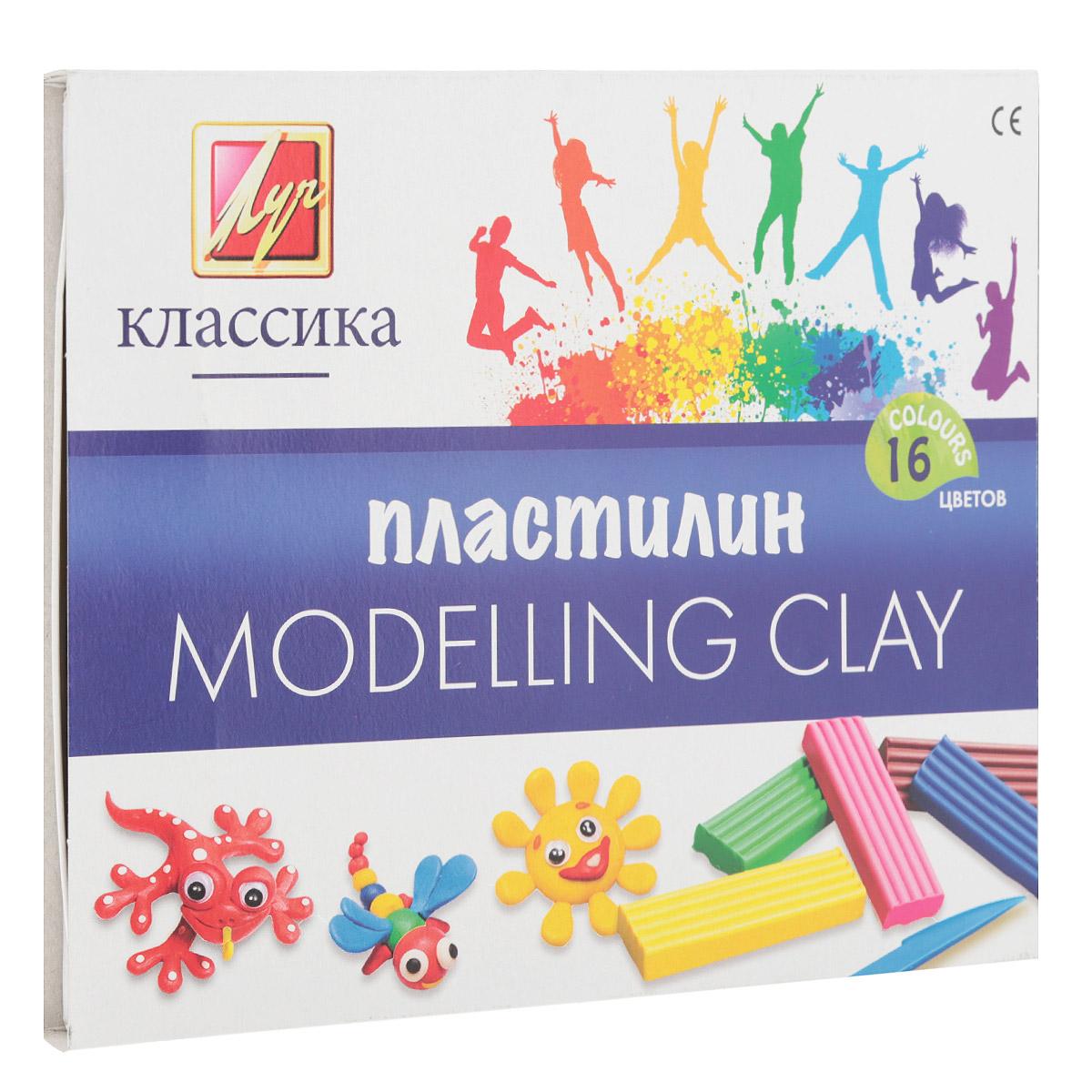 Пластилин Луч Классика, со стеком, 16 цветов всё для лепки мульти пульти пластилин со стеком приключения енота 16 цветов 320 г