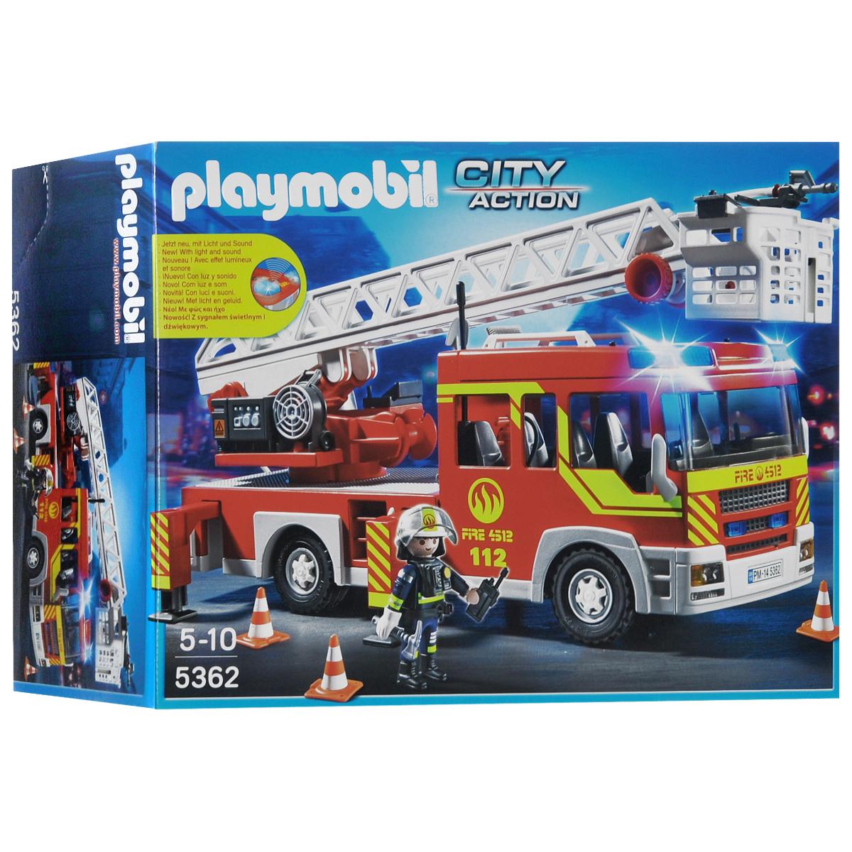Playmobil Игровой набор Пожарная машина с лестницей, со световыми и звуковыми эффектами машинки hti паровозик roadsterz синий с вагоном звуковыми и световыми эффектами