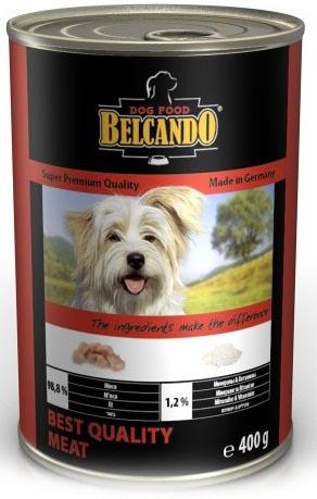 Консервы для собак Belcando, с отборным мясом, 400 г13152Консервы Belcando - это полнорационное влажное питание для собак. Подходят для собак всех возрастов. Комбинируется с любым типом корма, в том числе с натуральной пищей. Состав: мясо 98,8%, витамины и минералы 1,2%. Анализ состава: протеин 14 %, жир 5 %, клетчатка 0,2 %, зола 2,5 %, влажность 75,4 %, витамин А 2,500 МЕ/кг, витамин Е 40 мг/кг, витамин D3 250 МЕ/кг, кальций 0,4 %, фосфор 0,16 %.Вес: 400 г.Товар сертифицирован.