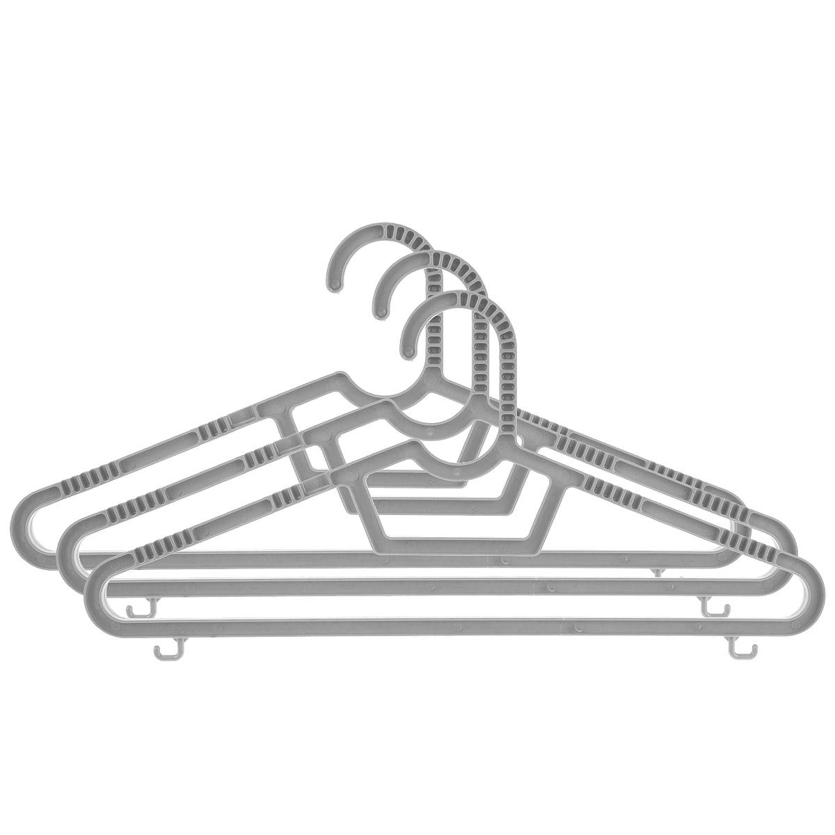 Набор вешалок Полимербыт, с перекладиной, с крючками, цвет: серый, размер 40-42, 3 штЯФ0156Набор вешалок Полимербыт выполнен из пластика. Изделия оснащены перекладинами и крючками.Вешалка - это незаменимая вещь для того, чтобы ваша одежда всегда оставалась в хорошем состоянии.Комплектация: 3 шт. Размер одежды: 40-42.