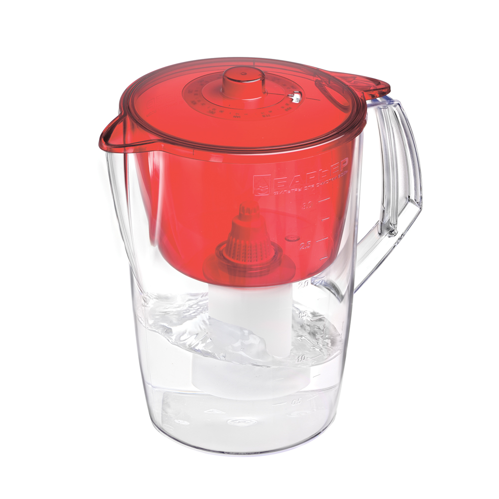 Фильтр-кувшин для воды Барьер Норма, цвет: рубинВ043Р00Фильтр Norma - одна из самых популярных моделей фильтров-кувшинов. Кувшин обеспечит Вам нужное количествочистой воды за раз и при этом не будет занимать много места на кухне. Фильтр Norma - это признанное российскими потребителями сочетание доступности с большим количеством отфильтрованной воды. Фильтр-кувшин предназначен для доочистки питьевой водопроводной воды. Эффективно очищает воду от активного хлора, органических и хлороорганических соединений, токсичных металлов и других вредных веществ. Устраняет неприятные запахи и привкусы. Фильтр укомплектован сменной фильтрующей кассетой БАРЬЕР-4. В состав кассеты входят особая комбинация высококачественных активированных углей для сорбции вредных примесей и специальные ионообменные материалы для удаления из воды ионов токсичных металлов. Особенности данного фильтра:высококачественный пластик, допущенный для контакта с питьевой водой;возможность мыть в посудомоечной машине;уникальная конструкция воронки для защиты от попадания неочищенной воды и пыли;уникальная технология NanoPlus®. Барьер - это высококачественные материалы и жесточайший контроль на каждой стадии производства. На сегодняшний день компания Барьер располагает производством полного цикла и собственной научно-исследовательской лабораторией. Конструкторский отдел компании сотрудничает с ведущими дизайн-бюро Европы, что позволяет обновлять модельный ряд фильтров-кувшинов раз в 2-3 года.Материал: пластик. Объем кувшина: 3,6 л.Объем воронки: 1,5 л.Объем очищенной воды: 1,6 л.Примерный ресурс сменной кассеты (в зависимости от качества исходной воды): 350 л.Размер кувшина (с учетом ручки): 24 см х 17 см. Высота кувшина: 25 см. Размер упаковки: 22,8 см х 16,8 см х 26,8 см. Входит инструкция по эксплуатации на русском языке.
