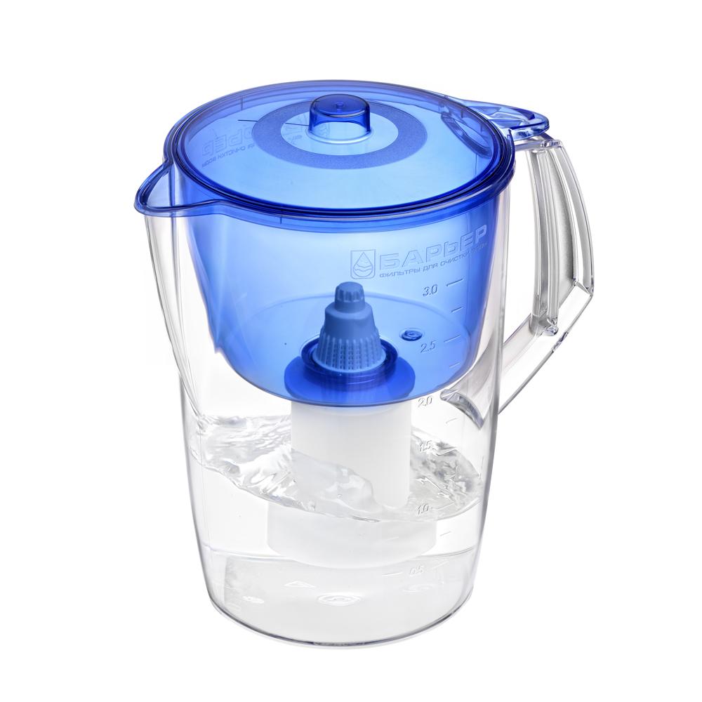 Недорогая модель фильтра-кувшина подойдет для семьи из трех человек. Отфильтрует за раз до 6 стаканов воды.   Особенности фильтра:   Уникальная конструкция воронки с защитой от попадания неочищенной воды и пыли   Кувшин изготовлен из высококачественного пластика BASF, допущенного для контакта с питьевой водой   В стандартной комплектации поставляется в продажу со сменной кассетой Барьер Классик Характеристики:  Материал: пластик. Объем кувшина: 3 л. Объем воронки: 1,5 л. Цвет воронки: синий. Размер кувшина по верхнему краю: 24 см х 17 см. Высота кувшина: 25 см. Размер упаковки: 27 см х 19 см х 19 см. Артикул: В061Р00.