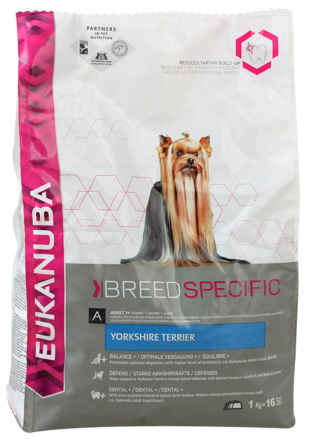 Корм сухой Eukanuba для взрослых собак породы йоркширский терьер, 2 кг81207564Сухой корм Eukanuba является полноценным сбалансированным питанием, специально разработанным для взрослых собак породы йоркширский терьер, а также подходящий для кормления собак пород кавалер-кинг-чарльз спаниель, ши-тцу, карликовых и той-пуделей. Йоркширский терьер - это маленькая, уверенная в себе и преданная хозяину собака, которая ценится за длинную шелковистую шерсть, не имеющую подшерстка. Поэтому ее кожа и шерсть требуют особой заботы. Также особого внимания требует ее зубная система ввиду типичного для данной породы размера пасти. Не содержит искусственных красителей и ароматизаторов. Содержит разрешенные ЕС антиоксиданты (токоферолы). Корм Eukanuba заботится о здоровье вашего любимца.Особенности корма Eukanuba:- важный антиоксидант поддерживает естественную защиту организма вашего питомца; - пребиотики и пульпа сахарной свеклы способствуют поддержанию здорового пищеварения путем обеспечения нормального функционирования кишечника;- оптимальное соотношение омега-6 и омега-3 жирных кислот помогает укреплять здоровье кожи и шерсти; - кальций способствует укреплению костей; - животные белки способствуют укреплению и поддержанию тонуса мышц; - 3D система защиты зубов снижает образование зубного камня в течение 28 дней, сокращает налет, поддерживает зубы крепкими; - повышенное содержание важнейших минералов, участвующих в поддержании крепких и здоровых зубов; - повышенный уровень пребиотиков для поддержания здорового пищеварения; - оптимальное содержание бета-каротина и витамина Е способствует поддержанию защитных функций организма йоркширского терьера.Сухой корм Eukanuba содержит только натуральные компоненты, которые необходимы для полноценного и здорового питания домашних животных. Корма от фирмы Eukanuba положительно зарекомендовали себя на российском рынке еще и потому, что они не содержат никаких красителей и ароматизаторов, а сбалансированное содержание всех необходимых витаминов 
