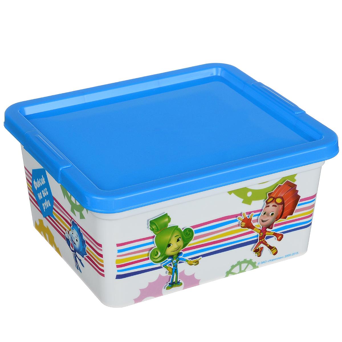 Контейнер для мелочей Полимербыт Фиксики, цвет: голубой, белый, 1,9 л набор для хранения полимербыт фиксики 6 предметов