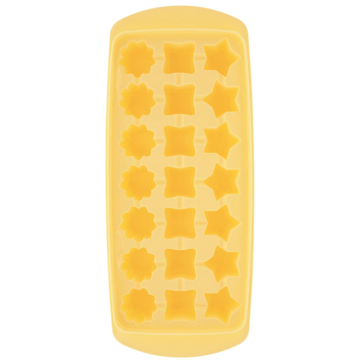 """Форма для льда Tescoma """"Presto"""" выполнена из прочного пластика. За один раз вы можете приготовить 21 кубик  льда в форме звездочки, квадратика или цветочка. Теперь на смену традиционным квадратным пришли новые  оригинальные формы для приготовления фигурного льда, которыми можно не только охладить, но и украсить  любой напиток. В формочки при заморозке воды можно помещать ягодки, такие льдинки не только оживят  коктейль, но и добавят радостного настроения гостям на празднике!Общий размер формы: 27 см х 11,5 см х 3  см. Средний размер ячейки: 2,5 см х 2,5 см. Количество ячеек: 21 шт."""