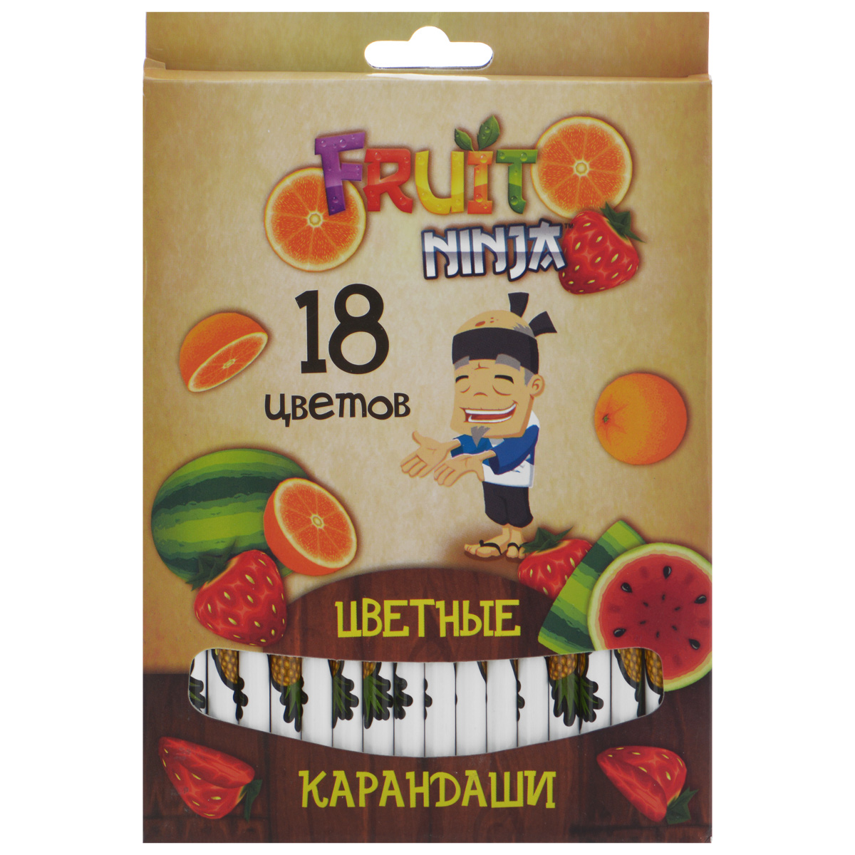 Цветные карандаши Action! Fruit Ninja, 18 цветовC37142_бежеваяЦветные карандаши Action! Fruit Ninja - идеальный инструмент для самовыражения и развития маленького художника!Корпус карандашей выполнен из высококачественной древесины и оформлен изображением сочных фруктов и логотипом игры Fruit Ninja. Карандаши обладают яркими насыщенными цветами, а мягкий грифель позволяет штрихам легко ложиться на бумагу. Они уже заточены, поэтому все, что нужно для рисования, - это взять чистый лист бумаги, и можно начинать!Комплект включает 18 карандашей разных цветов, упакованных в коробку, украшенную изображением фруктов и героя игры Fruit Ninja.
