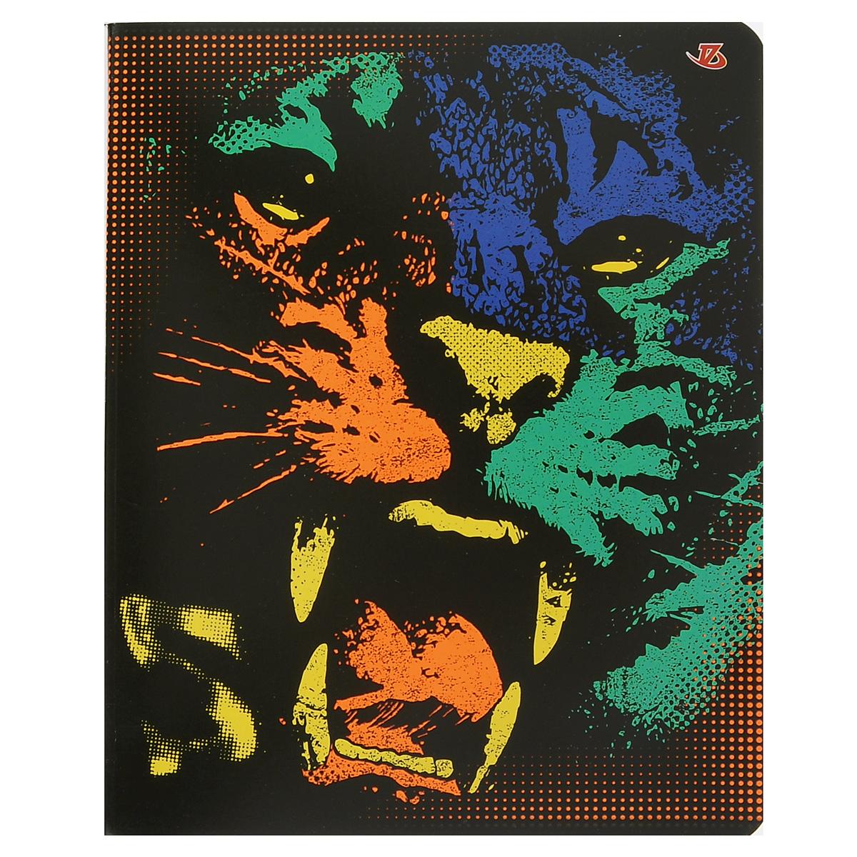 Тетрадь Тигр, цвет: черный, зеленый, оранжевый, 60 листов7227/5_Тигр(с дополнительным листом)FC-COC-643086Тетрадь Тигр прекрасно подойдет как студенту, так и школьнику.Обложка тетради с ярким изображением выполнена из мелованного картона с закругленными углами.Внутренний блок тетради состоит из 60 листов высококачественной бумаги повышенной белизны. Стандартная линовка в клетку дополнена полями. Первая страничка содержит поля для заполнения личных данных.