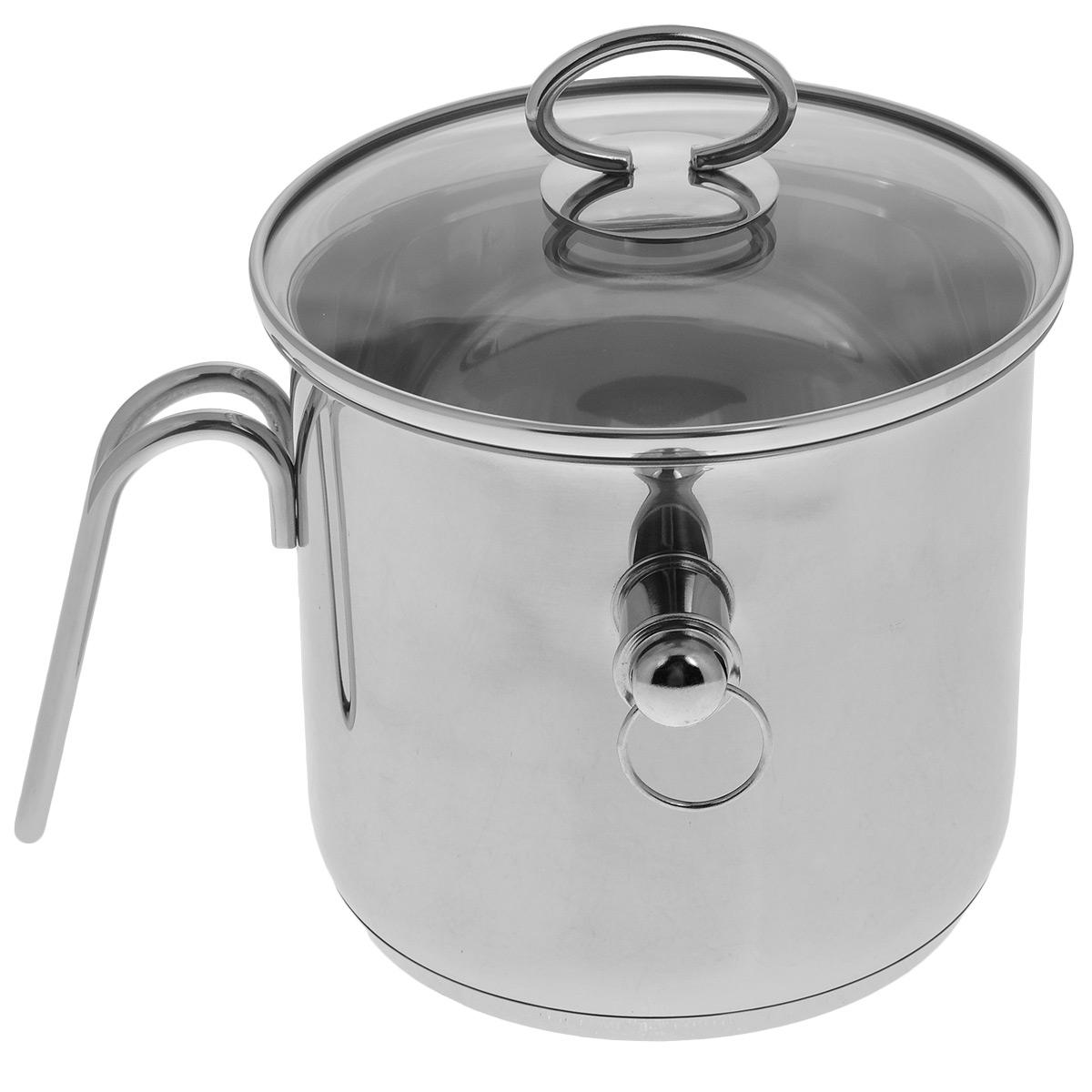 Молоковарка TimA с крышкой, со свистком, 2 лROUND C18-BМолоковарка TimA изготовлена из высококачественной нержавеющей стали марки 18/10. Внешние стенки обладают зеркальным блеском. Молоковарка имеет двойные стенки, между которыми заливается вода. Это исключает подгорание любого продукта. Например, кашу можно готовить без помешивания, так как она никогда не пригорит и не выползет, а молоко не убежит. В такой посуде можно готовить без помешивания любые соусы, кремы, заваривать травяные настои, топить шоколад, мед, масло.Съемный свисток громко известит о закипании жидкости внутри молоковарки. Изделие оснащено ручкой из нержавеющей стали эргономичной формы, которая надежно крепится к стенке, и стеклянной крышкой.Можно использовать на всех видах кухонных плит - электрических, газовых, со стеклянными и керамическими поверхностями, в том числе и на индукционных. Можно мыть в посудомоечной машине. Высота стенки: 15 см.Толщина стенки: 6 мм.Диаметр (по верхнему краю): 16 см.