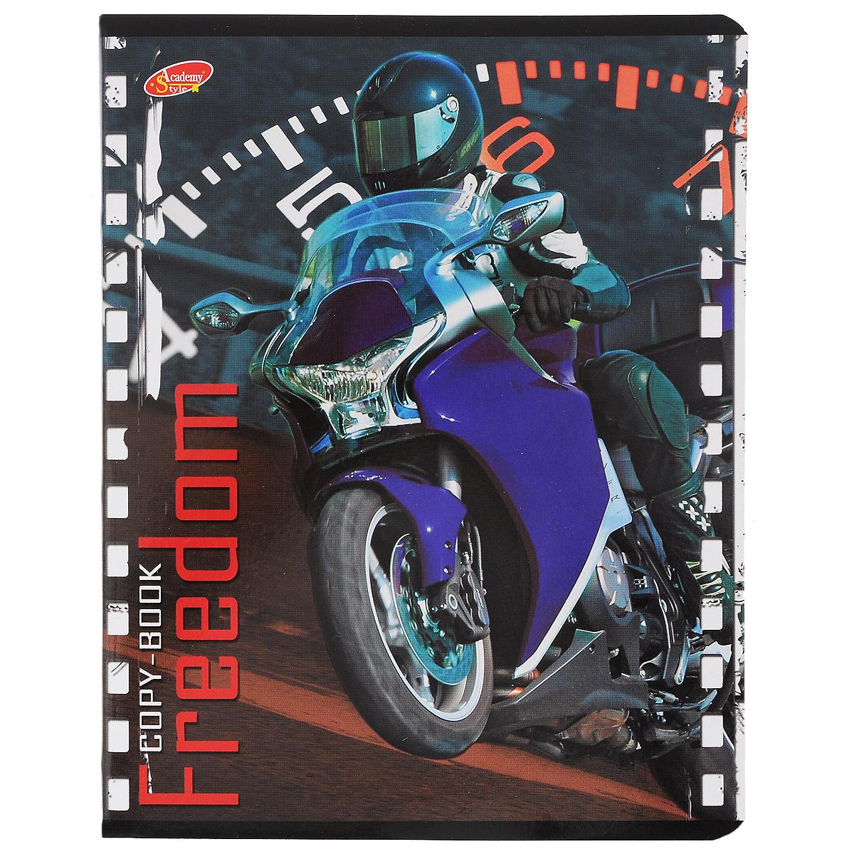 Тетрадь Freedom Мотоцикл, 80 листов, формат А5, цвет: фиолетовый6595/5_ФиолетовыйТетрадь в клетку Freedom Мотоцикл с красочным изображением мотоцикла на обложке подойдет как студенту, так и школьнику. Обложка тетради с закругленными углами выполнена из картона. Внутренний блок состоит из 80 листов белой бумаги. Стандартная линовка в клетку дополнена полями, совпадающими с лицевой и оборотной стороны листа.