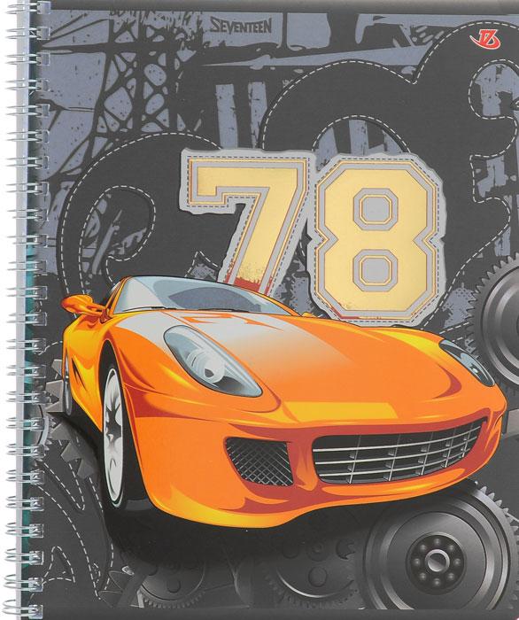 Тетрадь Seventeen Авто 78, цвет: серый, оранжевый, на гребне, 48 листов7232/3_Авто-78 оранжеваяТетрадь Seventeen Авто 78 прекрасно подойдет как студенту, так и школьнику.Обложка тетради с изображением оранжевого автомобиля с элементами золотого тиснения выполнена из мелованного картона с закругленными углами.Внутренний блок тетради на гребне состоит из 48 листов высококачественной бумаги повышенной белизны. Все листы расчерчены в клетку без полей.