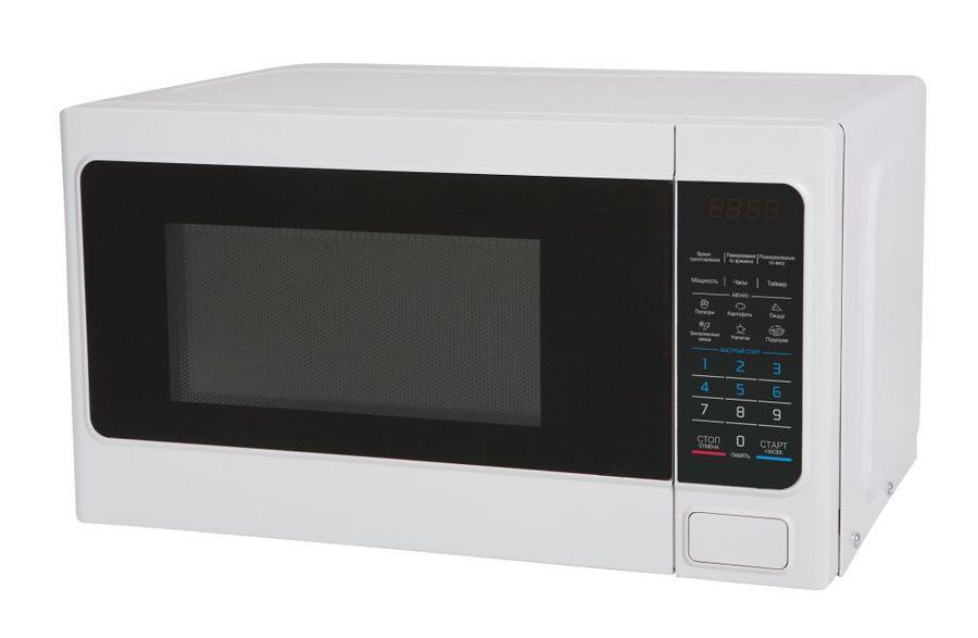 Midea EM820CAA-W СВЧ-печьEM820CAA- WКомпактная и надежная микроволновая печь Midea EM820CAA объемом 20 литров сочетает в себе стильный дизайн, высокое качество и интуитивно понятное электронное управление, благодаря чему вы сможете быстро и просто разогреть и приготовить различные блюда. С функцией автоматического размораживания вам не придется подсчитывать необходимое количество времени и мощность для размораживания того или иного продукта, достаточно выбрать специальную программу. Функция автоматического разогрева избавит вас от необходимости делать расчеты, достаточно лишь указать тип продукта и его объем, а микроволновая печь самостоятельно определит необходимую мощность. Кроме того, в этой модели имеются 6 функций автоматического приготовления, в которых наиболее популярные блюда запрограммированы, и достаточно лишь выбрать необходимое блюдо и печь сама установит режим. Панель управления на русском языке и светодиодный (LED) дисплей помогут быстро и легко приготовить любимые блюда! Безопасность в работе обеспечивает защита от включения при открытой дверце, а также защитная блокировка кнопок.