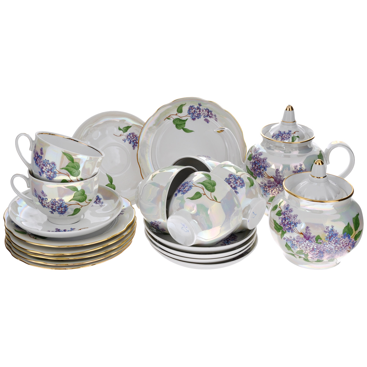 Сервиз чайный Сирень, 20 предметов00331Сервиз чайный Сирень состоит из шести чашек, шести блюдец, шести десертных тарелок, заварочного чайника и сахарницы, изготовленных из фарфора. Предметы набора оформлены красочным изображением цветов. Изящный дизайн придется по вкусу и ценителям классики, и тем, кто предпочитает утонченность и изысканность. Он настроит на позитивный лад и подарит хорошее настроение с самого утра. Сервиз чайный - идеальный и необходимый подарок для вашего дома и для ваших друзей в праздники, юбилеи и торжества! Он также станет отличным корпоративным подарком и украшением любой кухни.Количество чашек: 6 шт.Диаметр чашек по верхнему краю: 9 см. Высота чашек: 7 см. Количество десертных тарелок: 6 шт. Диаметр десертных тарелок: 17,5 см. Высота десертных тарелок: 2 см.Количество блюдец: 6 шт. Диаметр блюдец: 15 см. Высота блюдец: 2,5 см. Высота сахарницы (с учетом крышки): 14,5 см. Диаметр сахарницы по верхнему краю: 8,5 см.Высота чайника (с учетом крышки): 17,5 см. Диаметр чайника по верхнему краю: 7,5 см.