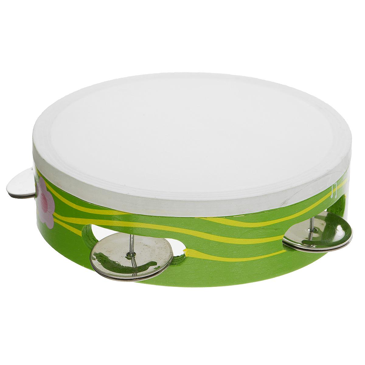 Музыкальная игрушка  Бубен , цвет: зеленый. Д212_зеленый