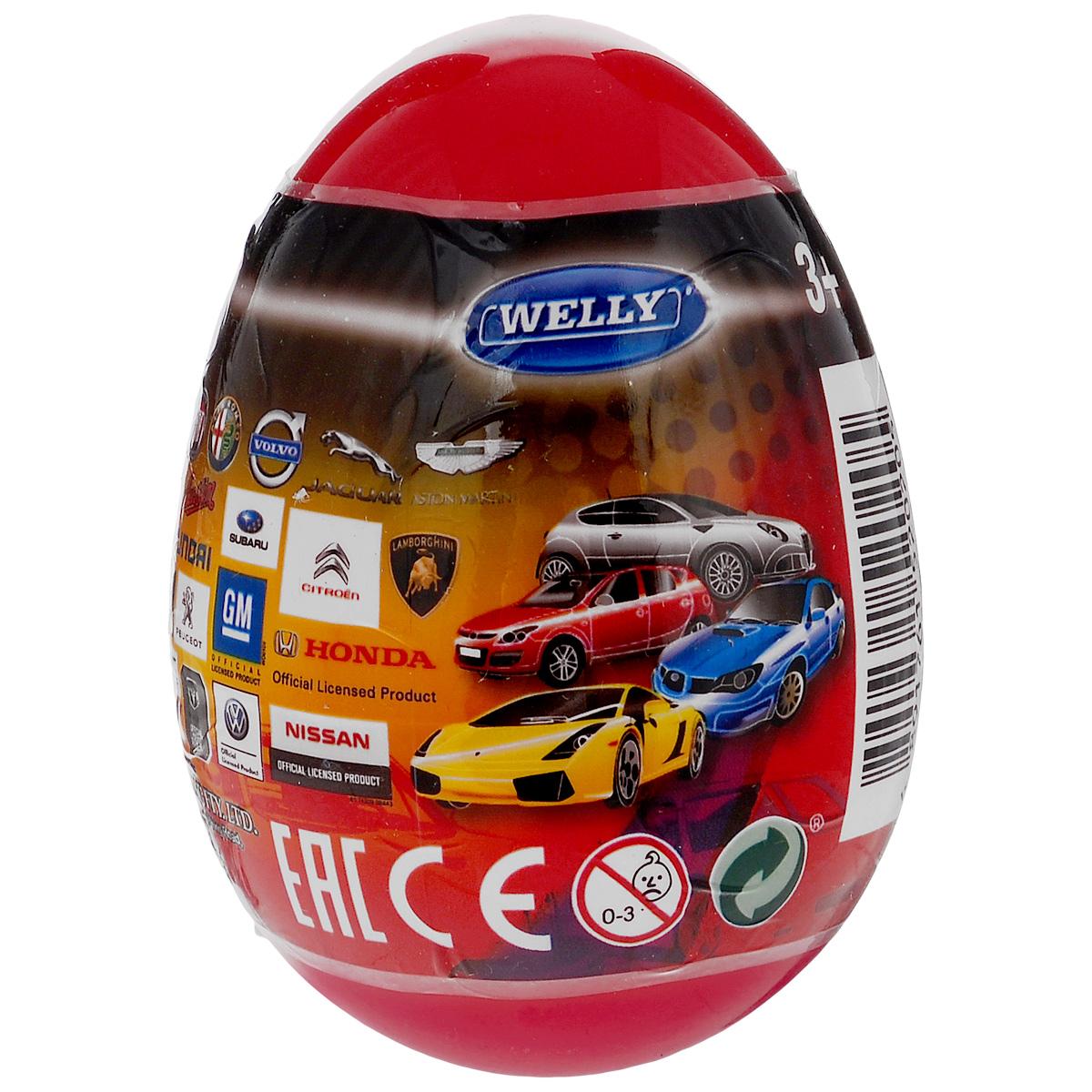 Welly Яйцо-сюрприз с машинкой цвет темно-красный машинки welly в яйце сюрпризе в ассортименте