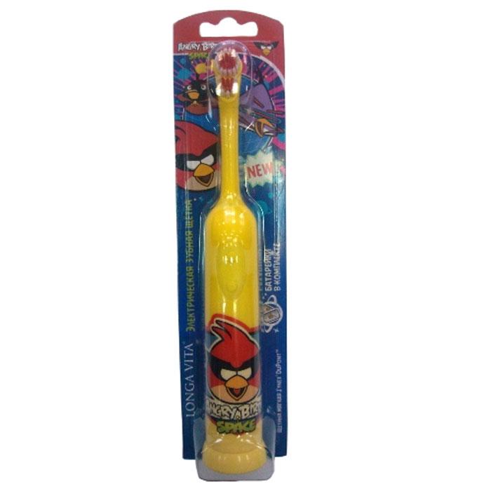 Longa Vita Детская зубная щетка Angry Birds. Space, мягкая, электрическая, цвет: желтый, от 3-х лет