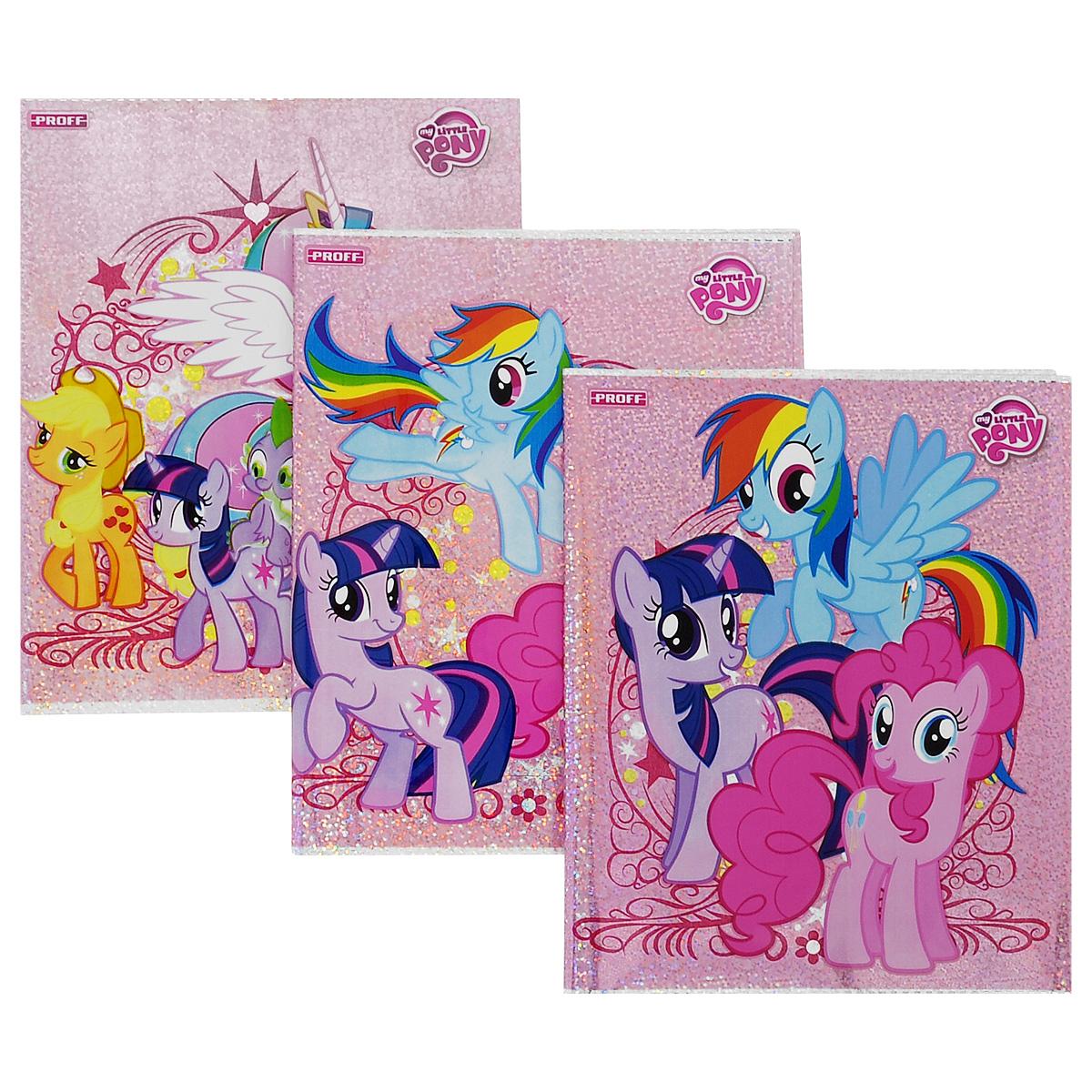 Набор обложек для тетрадей и дневников Proff Little Pony, 35,5 см х 21,6 см, 3 штBSL_ROZ_LITTLE PONYПрочная обложка Proff Little Pony, изготовленная из ПВХ, защитит поверхность тетради или дневника от изнашивания и загрязнений. Изделие оформлено ярким изображением любимых мультипликационных героев.