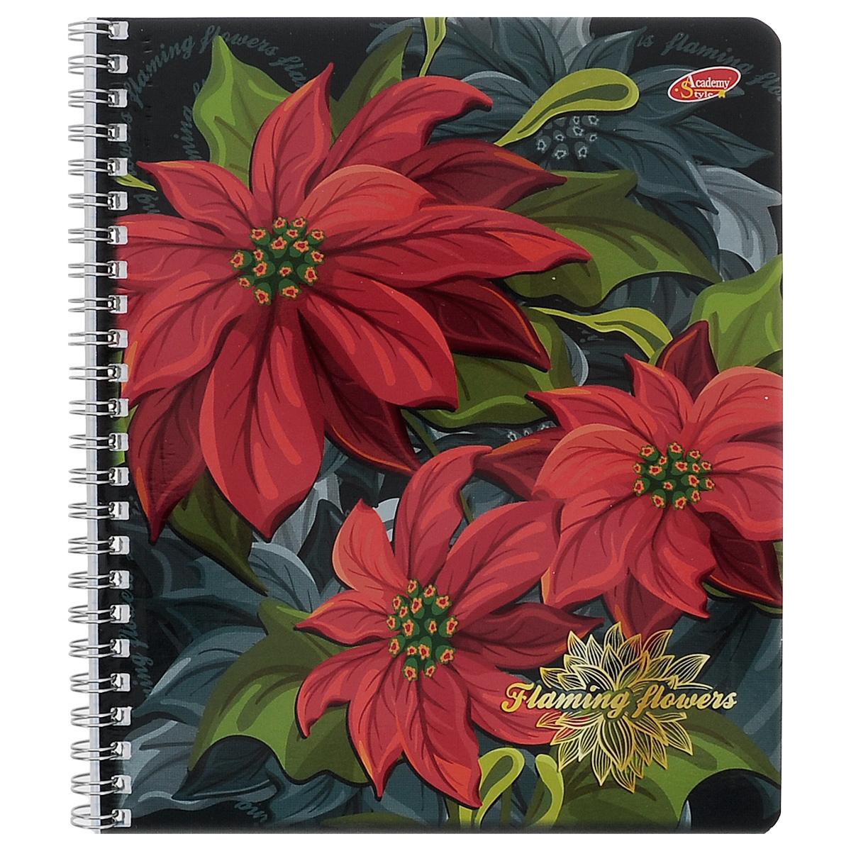 Тетрадь в клетку Flaming Flowers, цвет: красный, зеленый, 60 листов. 7088/37088/3_красныеТетрадь Flaming Flowers с красочным изображением ярких цветов на обложке подойдет для выполнения любых работ.Обложка тетради с закругленными углами изготовлена из мелованного картона.Внутренний блок тетради соединен металлической пружиной и состоит из 60 листов высококачественной бумаги повышенной белизны.
