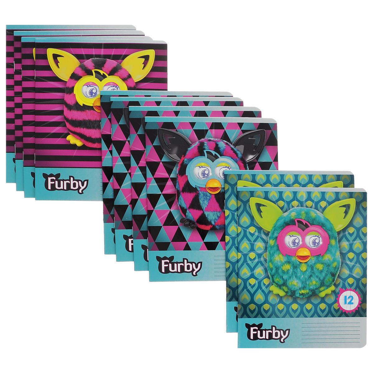 Набор тетрадей в клетку Furby, цвет: фиолетовый, бирюзовый, 12 листов, 10 шт. FB39/5FB39/5_Вид 2Комплект тетрадей Furby включает в себя 10 тетрадей в клетку по 12 листов. Обложка каждой тетради оформлена изображением игрушек Furby. На задней обложке каждой тетради представлена таблица умножения. Внутренний блок тетрадей состоит из 12 листов белой бумаги, соединенных скрепками. Стандартная линовка в клетку дополнена полями, совпадающими с лицевой и оборотной стороны листа. В наборе представлены тетради с тремя вариантами изображений Furby.