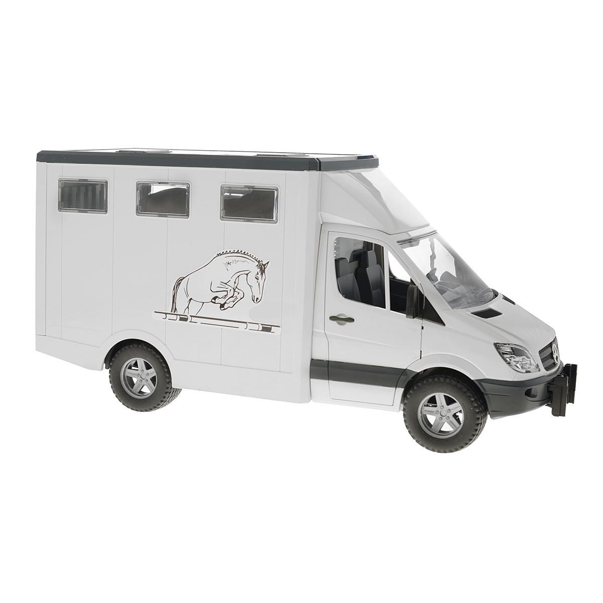 Фургон Bruder Mercedes-Benz, с лошадью, цвет: белый, серый tomy прицеп для перевозки лошадей с лошадью и жеребенком с 3 лет