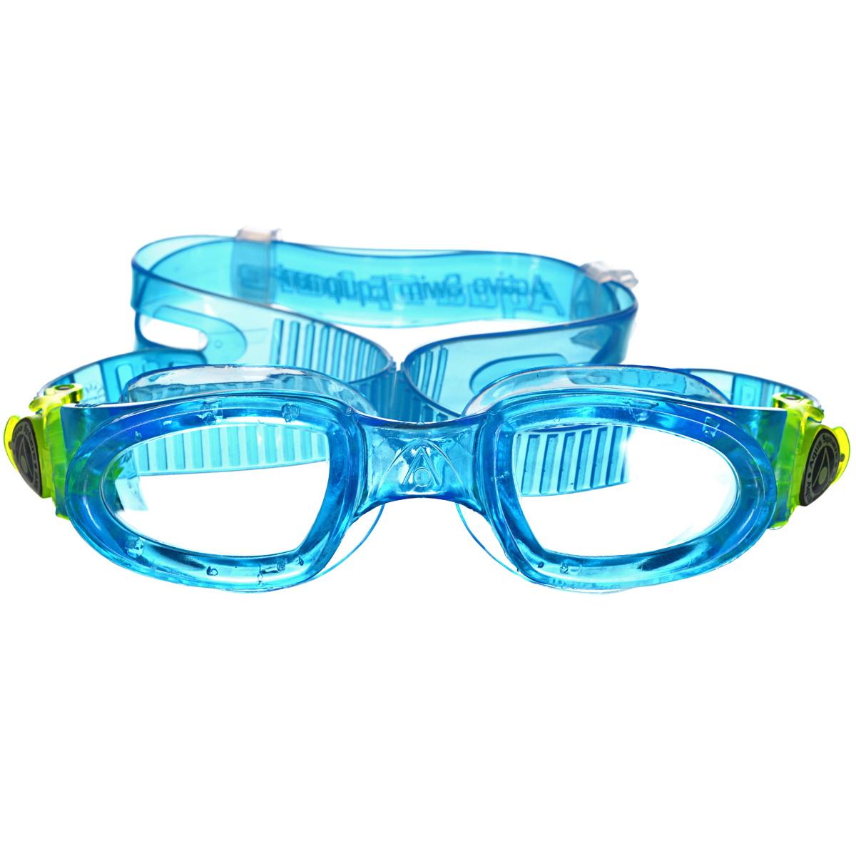 Очки для плавания Aqua Sphere Moby Kid, цвет: голубой, желтыйTN 167900Очки для плавания Aqua Sphere Moby Kid специально для детей и для тех взрослых, кому нужны плавательные очки маленького размера. Оснащены мягкой не травмирующей обтюрацией и увеличенной линзой. Очки дают 100% защиту от ультрафиолетового излучения спектра А и спектра В. Специальное покрытие препятствует запотеванию стекол. Ремешки удобно регулируются. Специальное покрытие защищает от появления царапин.Материал: софтерил, plexisol.
