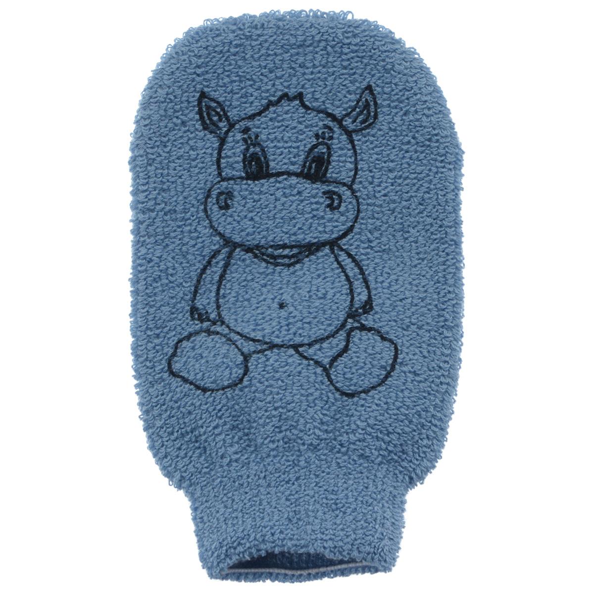 Мочалка-рукавица детская Riffi, голубой riffi мочалка губка массажный цветок средняя цвет молочный 343