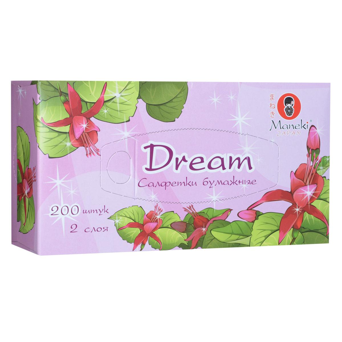 Maneki Салфетки бумажные Dream, двухслойные, цвет: розовый, 200 шт maneki салфетки бумажные dream двухслойные цвет голубой 200 шт