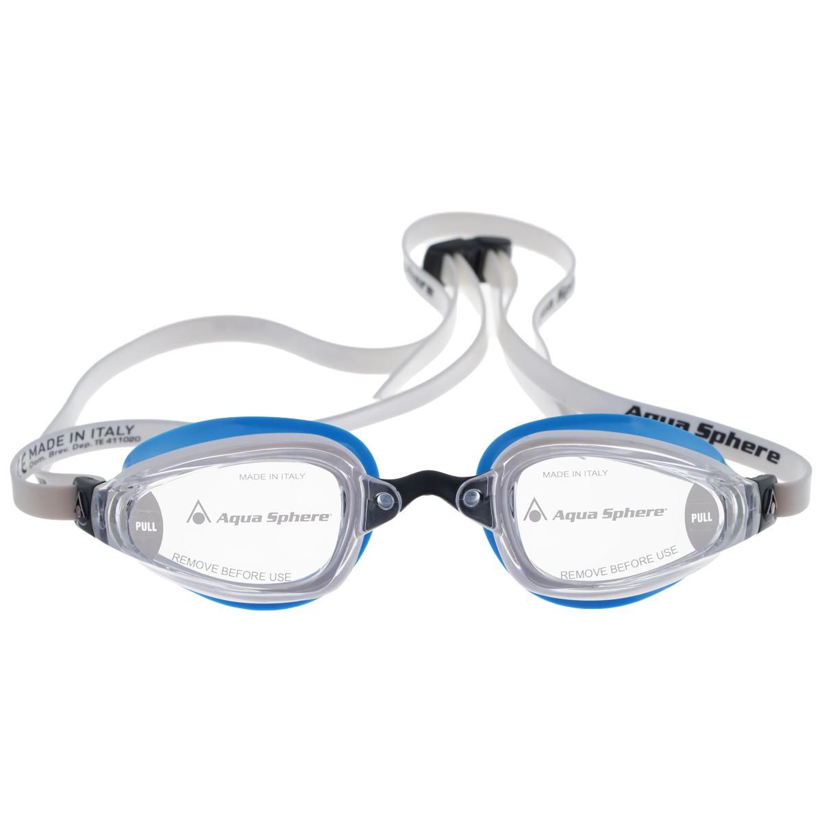 Очки для плавания Aqua Sphere K180 Lady, цвет: белый, голубойTN 173270Aqua Sphere K180 Lady - это первые очки для скоростного плавания, обладающие панорамным обзором в 180°, который достигается благодаря очень близкому расположению линз к глазам. Благодаря сменным перемычкам можно менять расстояние между линзами. Очки дают 100% защиту от ультрафиолетового излучения.В комплекте 3 сменных перемычки.