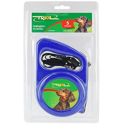 Поводок-рулетка Triol, для собак до 30 кг, цвет: синий, 5 м. Р-01100 поводок рулетка triol colour dog длина 5 м размер s