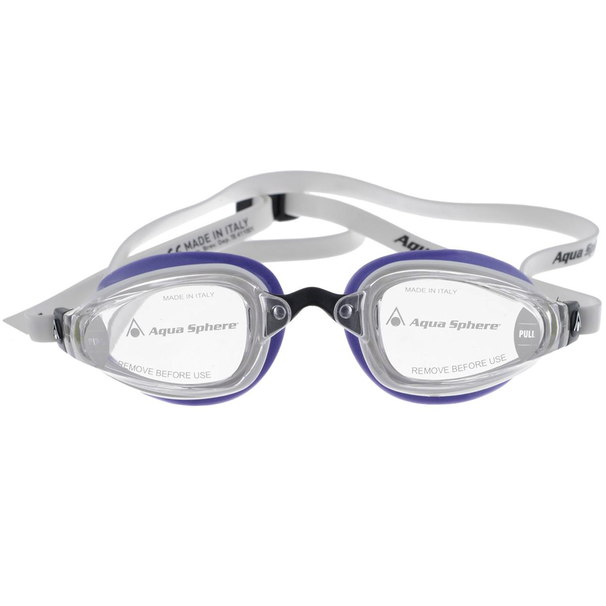 Очки для плавания Aqua Sphere K180 Lady, цвет: белый, лавандовыйTN 173420Aqua Sphere K180 Lady - это первые женские очки для скоростного плавания, обладающие панорамным обзором в 180°, который достигается благодаря очень близкому расположению линз к глазам. Благодаря сменным перемычкам можно менять расстояние между линзами. Очки дают 100% защиту от ультрафиолетового излучения.В комплекте 3 сменных перемычки.