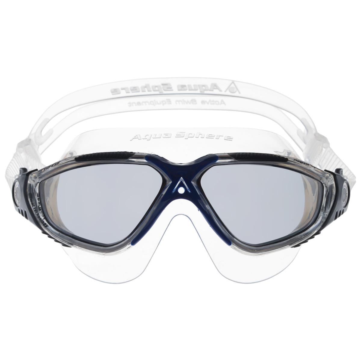 Очки для плавания Aqua Sphere Vista, темные линзы, цвет: серый, синий очки для плавания aqua sphere k180 lady цвет белый розовый
